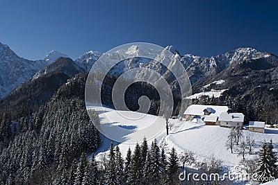 Mountain farm in winter