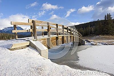 Mountain Footbridge in Winter 2