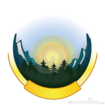 Mountain and forest badge logo