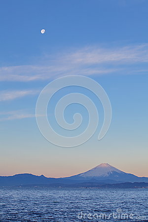 Mountain Fuji and moon