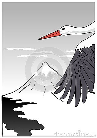 Mountain Fuji with stork, vector illustration