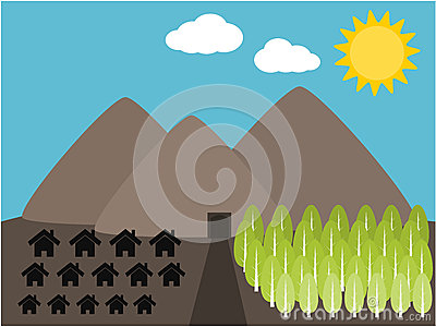Mountain home and tree illustration