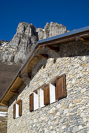 The mountain hut in the Alps