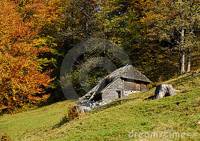 Mountain hut in autumn