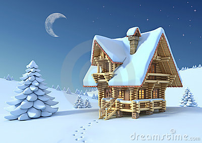 Mountain hut in the winter scene