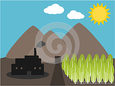 Mountain industry and tree illustration
