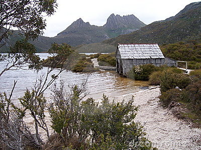 Mountain lake boatshed