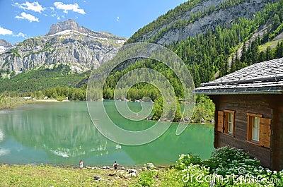 Mountain Lake and Cabin