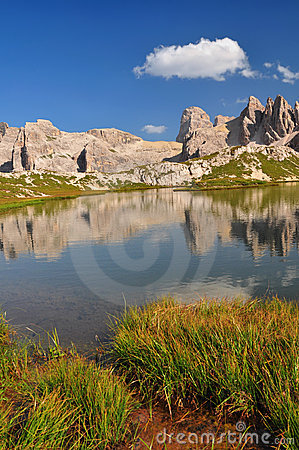 Mountain lake in Dolomites Mountains