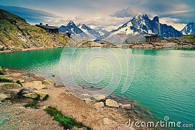 Mountain lake. Lac Blanc, Chamonix