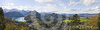 Mountain lake and panoramic view to Bavarian Alps