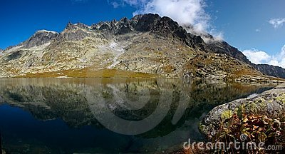 Mountain lake with quite surface