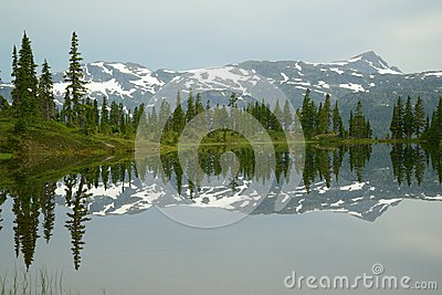 Mountain and lake reflection