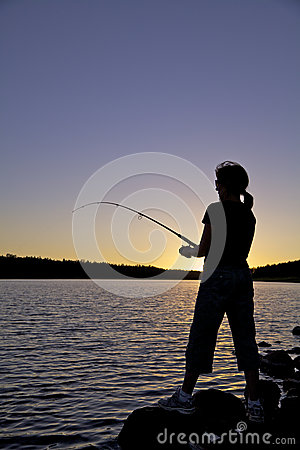 Mountain Lake Sunset Fishing