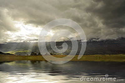Mountain lake under the clouds