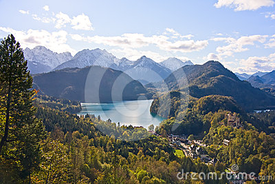 Mountain lake and view to Bavarian Alps