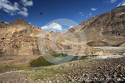 Mountain landscape with lake. Himalayas