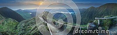 Mountain landscape Ponta Delgada island, Azores Portugal Stock Photo
