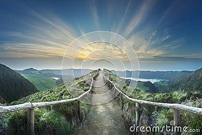Mountain landscape Ponta Delgada island, Azores, Portugal Stock Photo