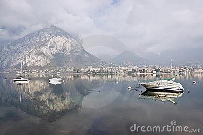 Mountain landscape with reflections on Lake Como