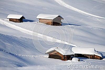 Mountain landscape, snow, chalet