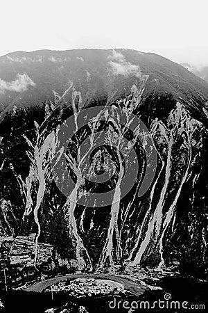 Mountain landslide
