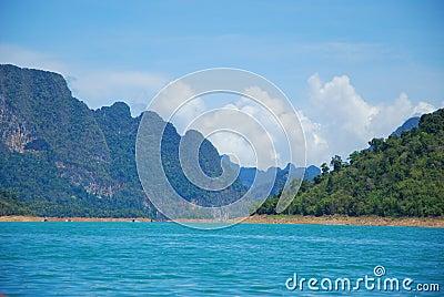 Mountain in large lagoon