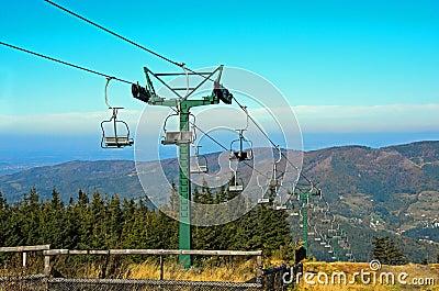 Mountain lift in autumn