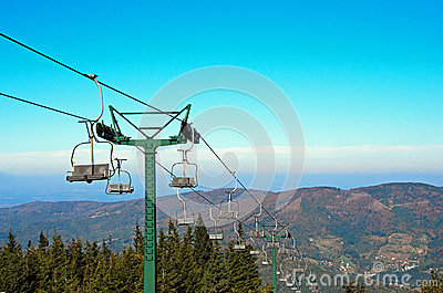 Mountain lift in autumn
