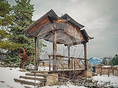 Mountain pagoda in winter