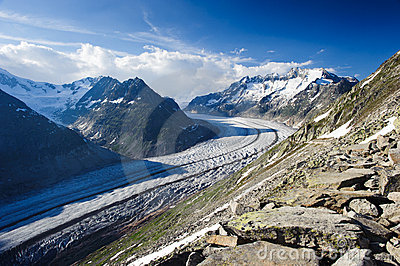 Mountain panorama of Aletsch glacier