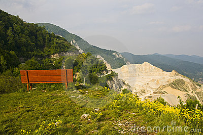 Mountain panorama with bench