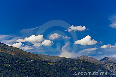 Mountain panorama and bright blue sky
