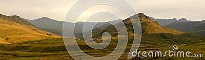 Mountain panorama at sunrise
