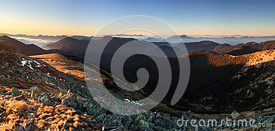 Mountain panorama at sunset with path - Low Tatras