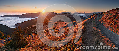 Mountain Panorama At Sunset With Path - Low Tatras Royalty Free Stock Images - Image: 24784459
