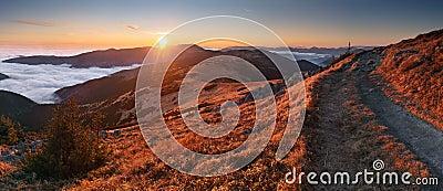 Mountain panorama at sunset with path - Low Tatras