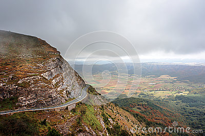 Mountain pass with a road and a car