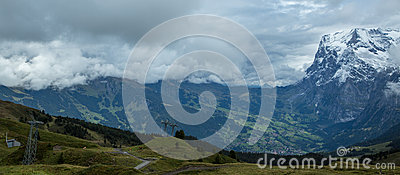 Storm covered Swiss mountains