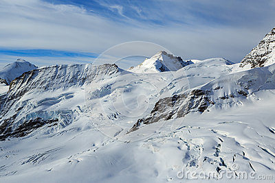 Mountain peaks in the Jungfrau region of Switzerla