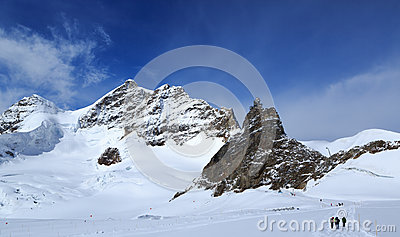 Mountain peaks in the Jungfrau region of Switzerland