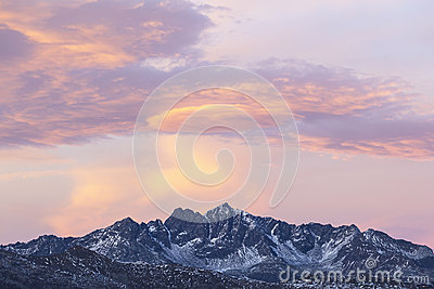 Mountain peaks in sunset
