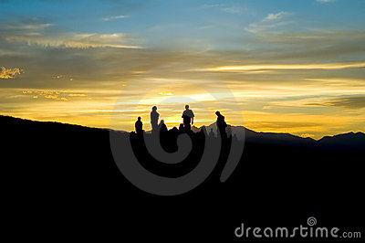 Mountain people silhouette