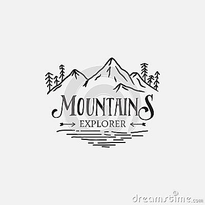 Mountain Pine Trees retro logo hipster design Vector Illustration