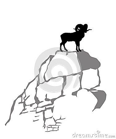 Mountain ram silhouette