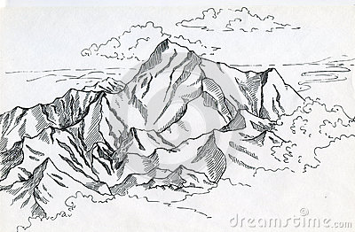 Mountain range drawin in ink