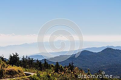 Mountain range and mist