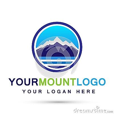 Free Mountain Range Sea Snow Ice Top Logo Circle Icons Symbol Logo Design On White Background Stock Photography - 129128112