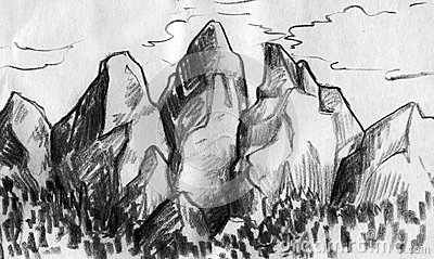how to draw a mountain range