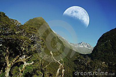 Mountain ranges with moon